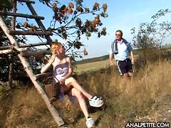 Old guy finds a big boobs blonde in a field and fucks her hard