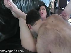 Hot Ass Smoking Cougar Gets Pussy Lick In CFNM Masturbation