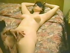 Retro video of two sexy amateur lesbian babes hooking up