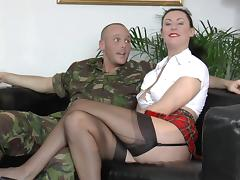 Military man puts a milf in a gag and cuffs and bangs her