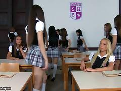 Girls stay after class to suck and fuck their very horny teacher