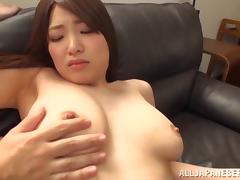 Pleasuring a natural Japanese beauty with a hairy twat