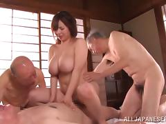 Wrinkled, Asian, Big Tits, Cowgirl, Foursome, Hardcore