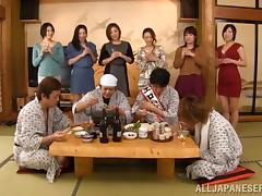 Traditional Japanese hardcore sex orgy with tons of chicks