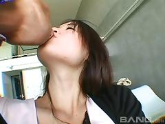 Satin panties on the Japanese cutie excite him to pound her snatch