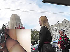 Fatty MILF and her girlfriend in the amateur XXX upskirt