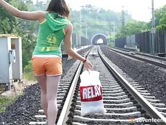 Teen roams the railroad tracks until she finds a place to play