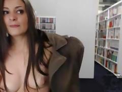Webcam clip of a hottie masturbating in library