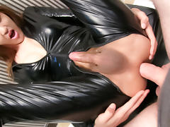 LadyboyGold Movie: Latex Ladyboy Creampie