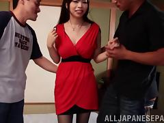 Delectable Japanese hottie takes on two cocks in a savory mmf threesome
