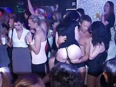 Provocative pornstars turn a club party into a full swing orgy