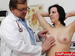 Naughty brunette gets her pussy jammed with toys hardcore