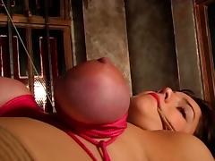 Big tits hottie bound and gagged in a BDSM session