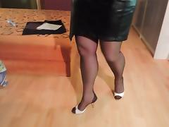 Skirt, Amateur, Leather, Nylon, Skirt, Stockings