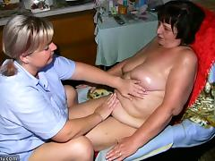 Chubby granny and fat milf masturbating with dildo