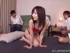 Dazzling Asian miss in a thong gets gang banged and loving it