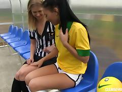 Beautiful player has her referee finger her twat in stunning lesbian action