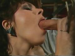 Horny brunette with nice tits gives guy blowjob and fingers her pussy then fucks