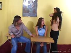Delightful pornstar with long hair in jeans getting screwed hardcore in reality ffm sex