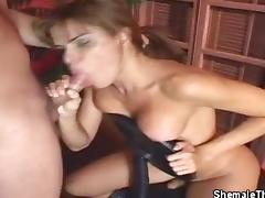 Stripping TS Hilda Blows Her Man