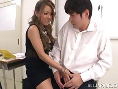 Salacious teacher gives her horny student his first blowjob