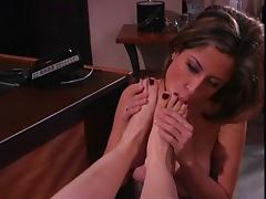 2 lesbian hotties in office with a foot fetish