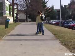 Amateur girls walk home from school, kiss and lick pussy