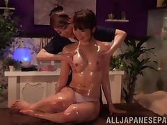 Horny Japanese lesbian MILFs in an erotic massage session in POV