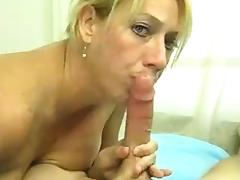 Young Guy Jerks His Big Cock Off Before Excited Milf