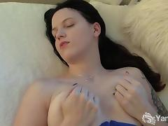Tattooed Chesty Frankie Playing With Dildo