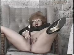 Kinky granny fucked by a muscular guy and a lit candle