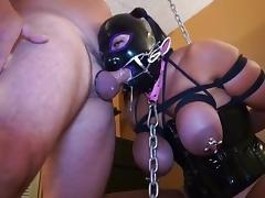 GREAT BONDAGE TITS FETISH MASK BJ