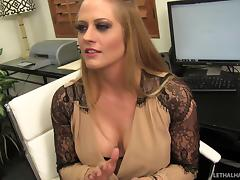 Fishnet-clad whore with nice big tits enjoying an awesome missionary style fuck