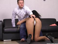 Asian babe Pati Campos is pushed up against the wall and ass fucked