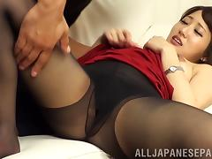 He rips Misa Kudou's pantyhose off so he can fuck her from behind