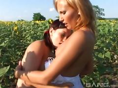 Outdoor pussy toying action with doting lesbian babes