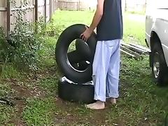 Fucking an Innertube Previous To Stuffing it into a Truck Tire