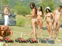 Racing remote control cars and having a steamy orgy