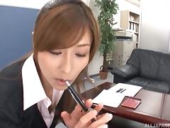 Lusty Japanese slut gives this thick cock an awesome blowjob in a POV shoot