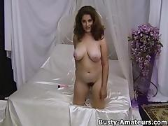 Jonee strips and masturbates her hairy pussy