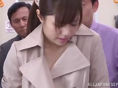 A group of guys feel up Rina Rukawa then jizz all over her