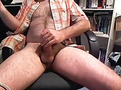Nice dude is masturbating in a small room and shooting himself on computer webcam