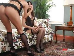Dark haired lesbians in high heels tease their muffs passionately