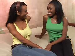 Ebony-skinned lesbian slut with great juggs getting her pussy licked
