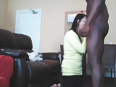 Mom sucking black girl cock while husband is out