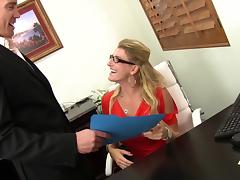 Eight inches of dick slide into a blonde milf and make her cum