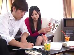 Uniform girl Haruka Hoshino is always happy to fuck a coworker