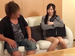 Asian brunette slips her thong aside paving way for the hard dong to friction her walls