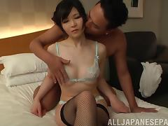 Asian woman wearing sexy stockings and taking a good pounding