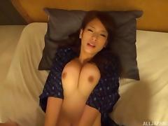 Stunningly gorgeous Japanese MILF enjoys a deep pussy drilling